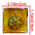 Amber Square Pendant with Golden Gear - $7.00