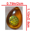 Amber Tear Drop with Silver Dragonscale - $7.00